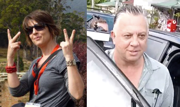 Side by side image of woman giving the fingers up and the upper body of a man getting into his car
